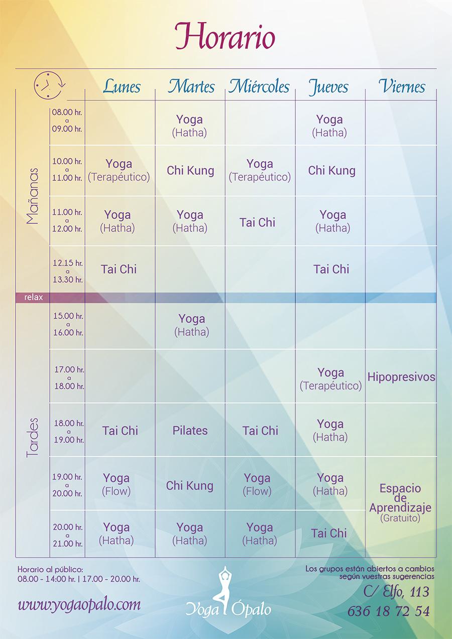 horario Yoga Ópalo 2021